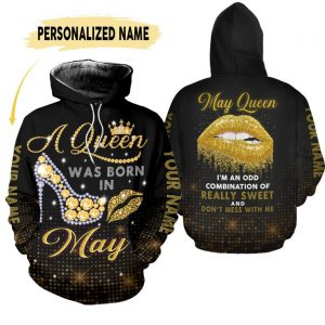 A queen was born in May custom name hoodie and legging