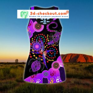 Aboriginal naidoc purple turtle lizard bedding set tank top