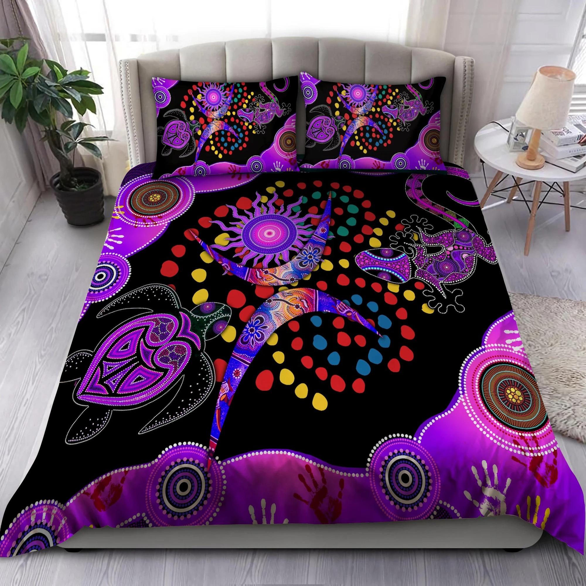 Aboriginal naidoc purple turtle lizard bedding set