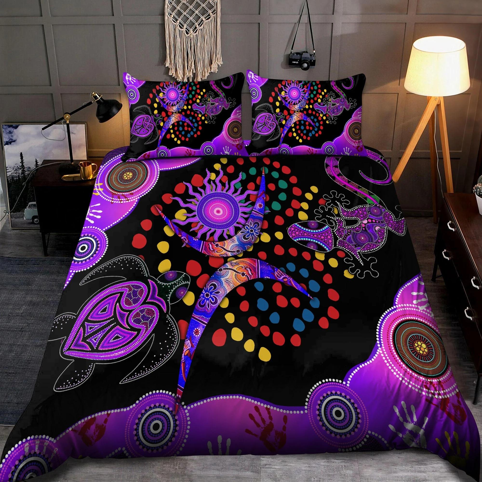 Aboriginal naidoc purple turtle lizard bedding set1