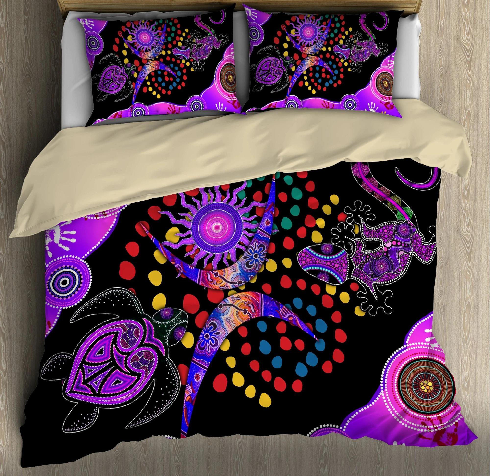 Aboriginal naidoc purple turtle lizard bedding set2