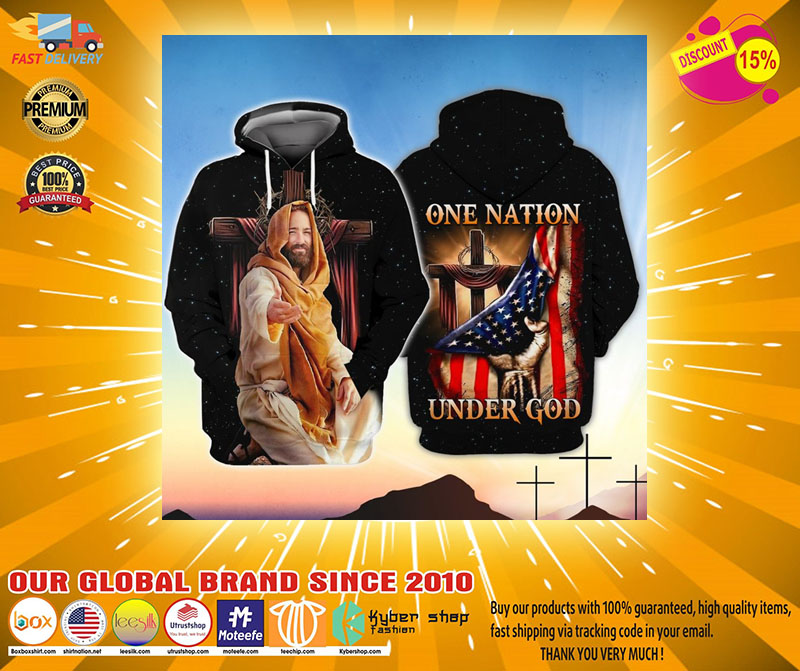 American One nation under god 3D hoodie2