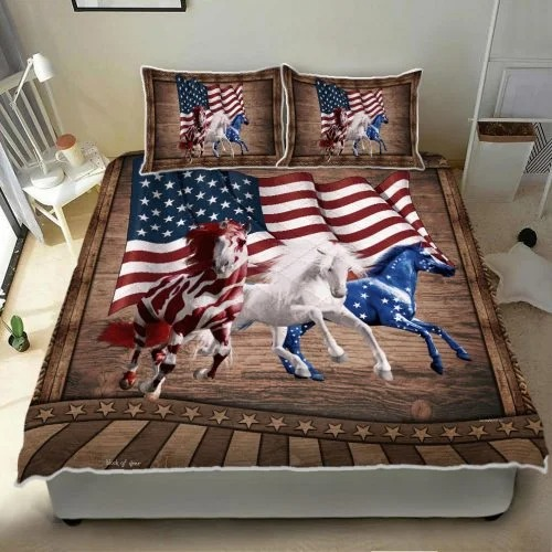 American Running Horses bedding set2