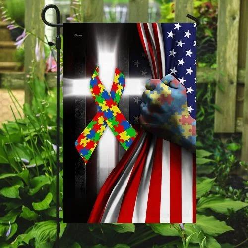 Autism awareness cross American flag3