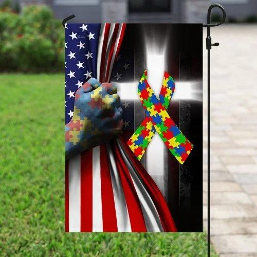 Autism awareness cross American flag4