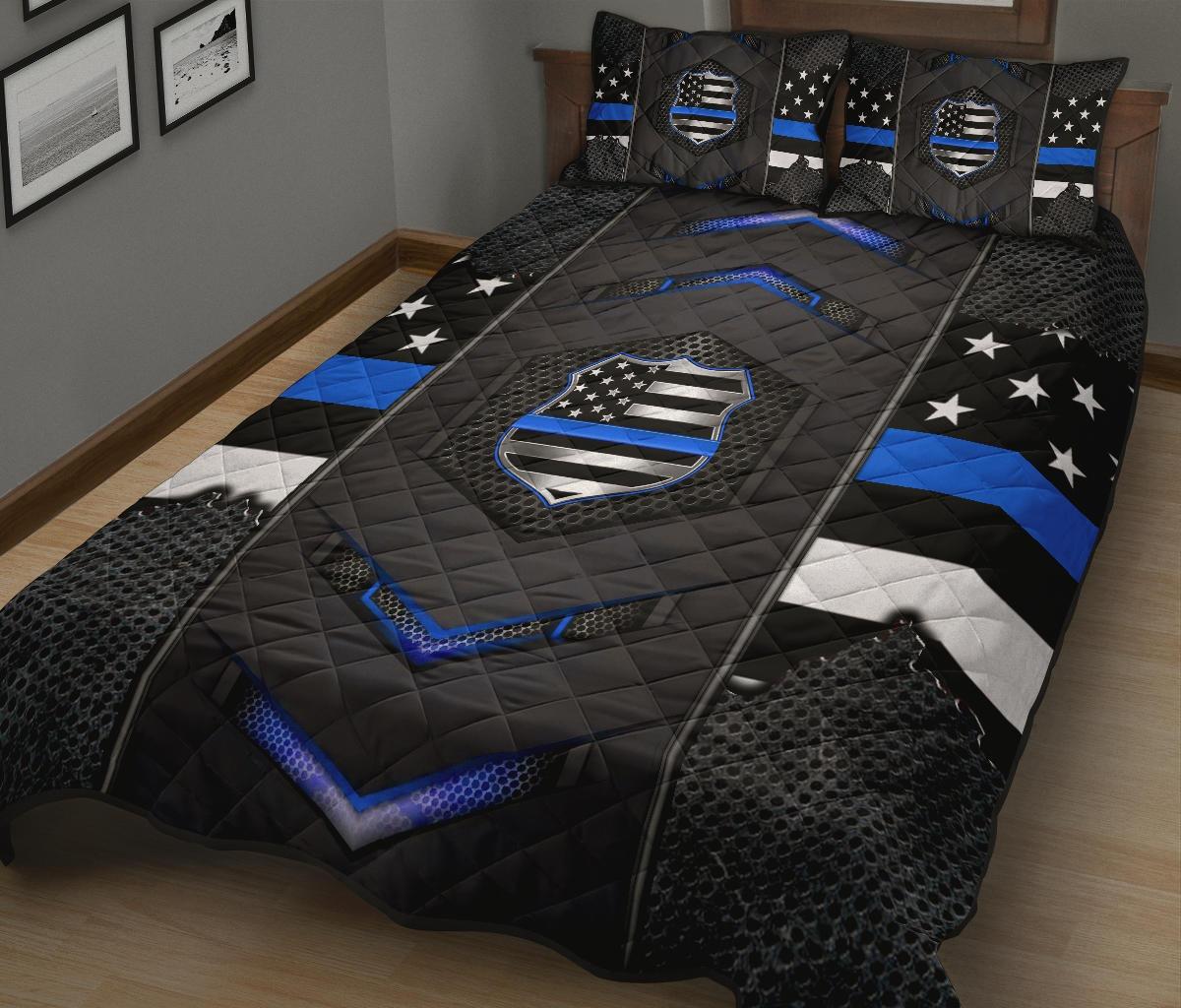 Back the blue police US flag bedding set3