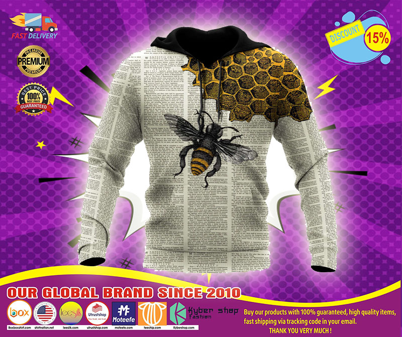 Bee dictionary 3D over print hoodie1