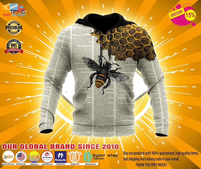 Bee dictionary 3D over print hoodie2