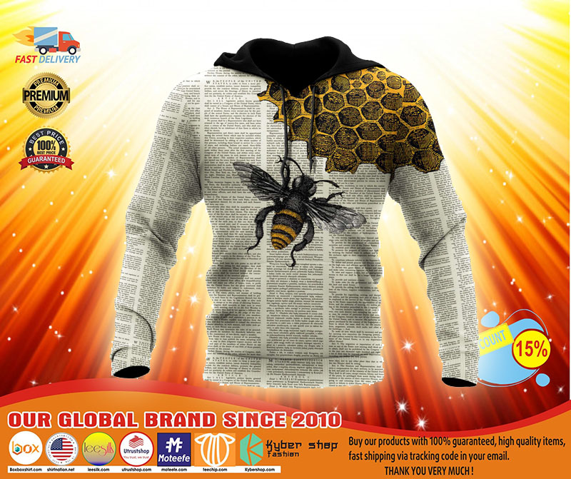 Bee dictionary 3D over print hoodie3