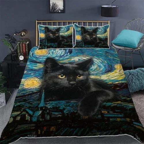 Black cat starry night bedding set2