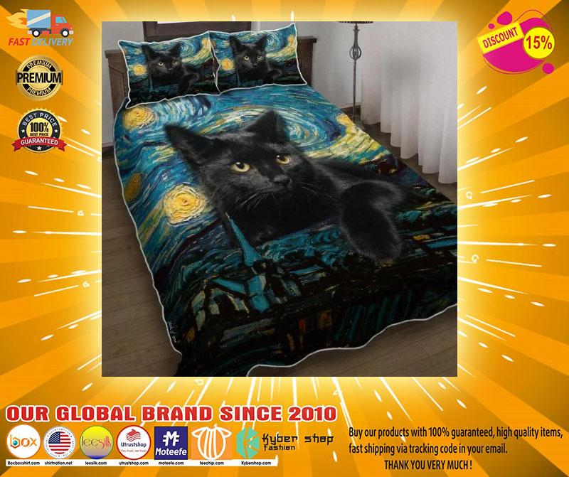 Black cat starry night bedding set4