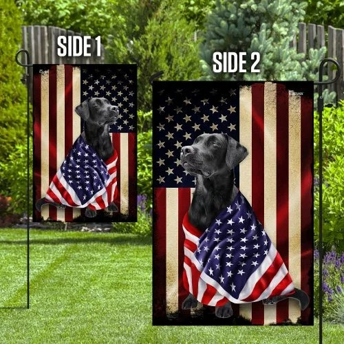 Black labrador retriever american patriot flag2