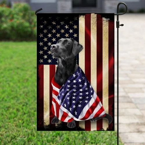 Black labrador retriever american patriot flag4