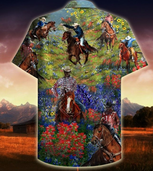 Bluebonnet and texas cowboy hawaiian shirt2