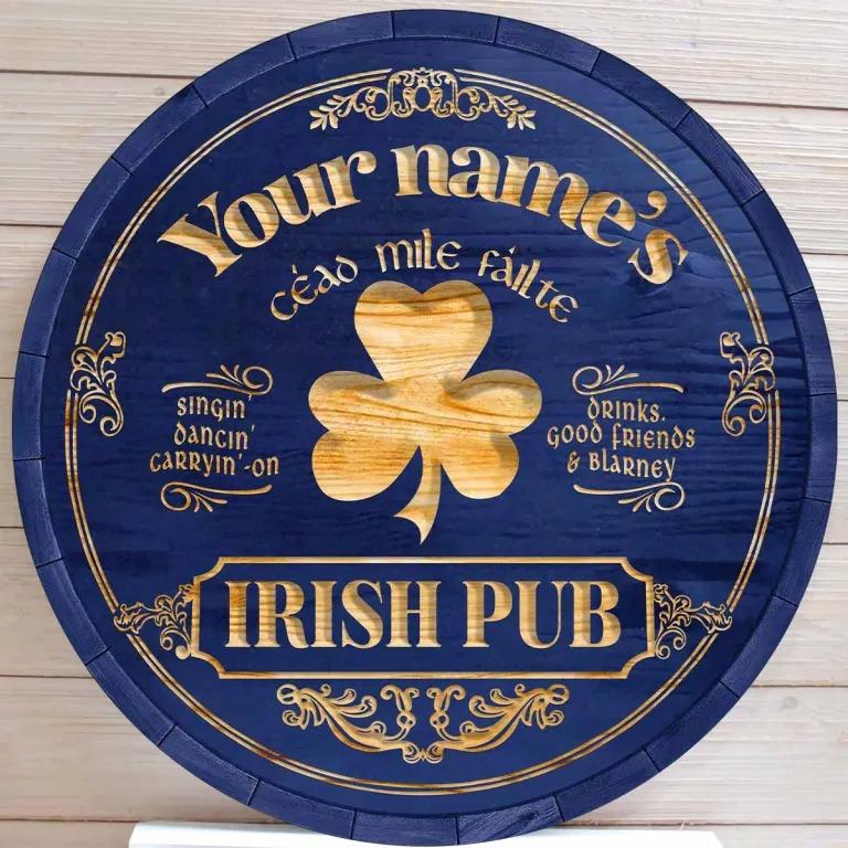Ceao mile failte Irish pub custom name bar sign3