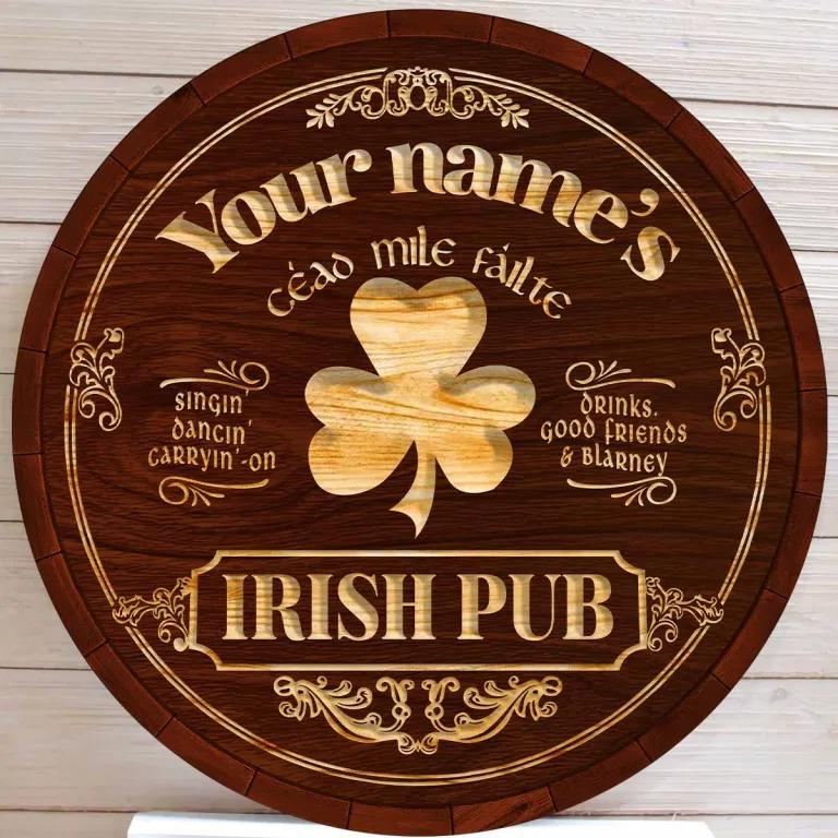 Ceao mile failte Irish pub custom name bar sign4