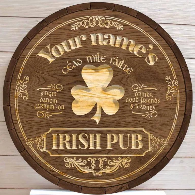 Ceao mile failte Irish pub custom name bar sign5
