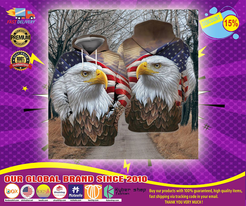 Eagle and flag american 3D hoodie11