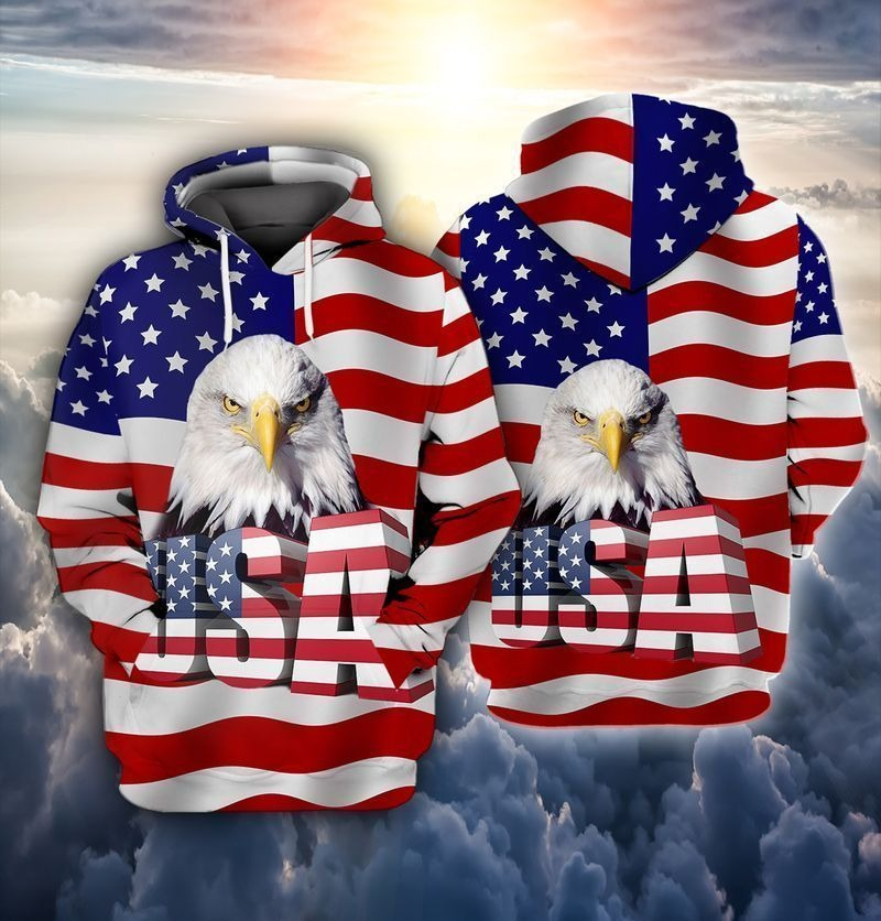 Eagle and flag american 3D hoodie2