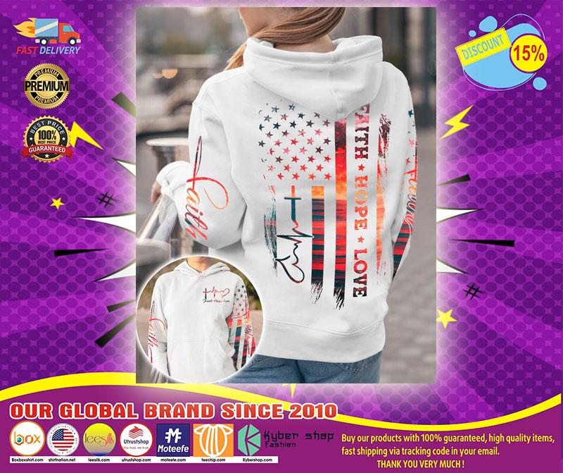 Faith hope love sunset beach 3D hoodie1