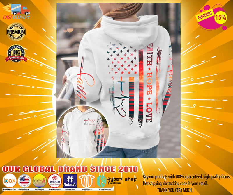 Faith hope love sunset beach 3D hoodie2