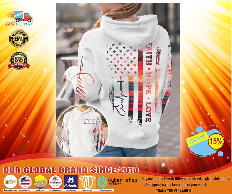 Faith hope love sunset beach 3D hoodie3