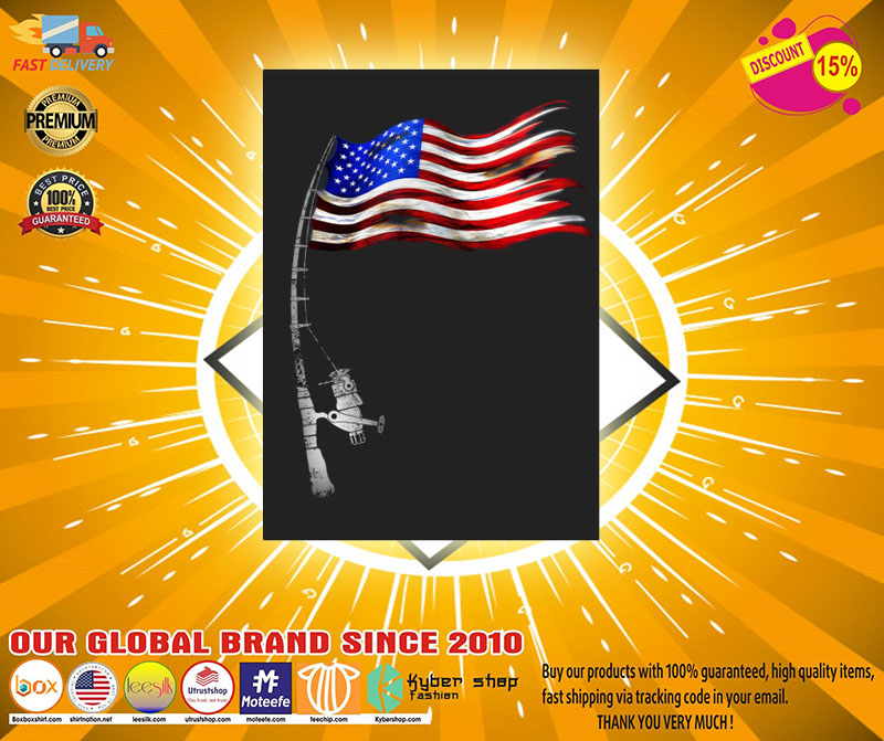 Fishing American flag sticker2