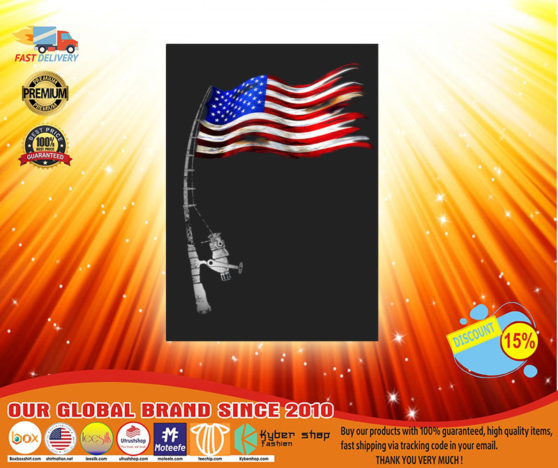 Fishing American flag sticker3
