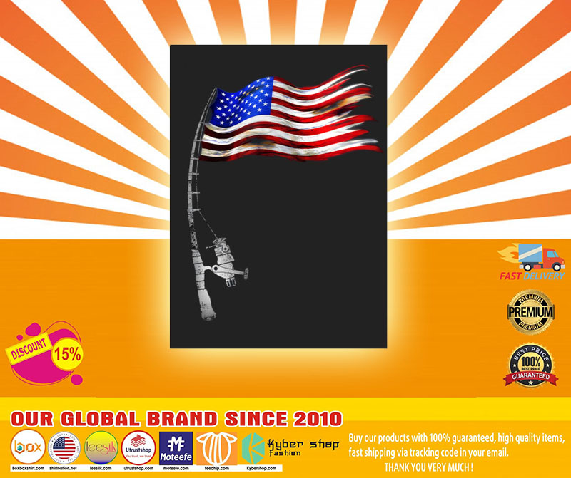 Fishing American flag sticker4