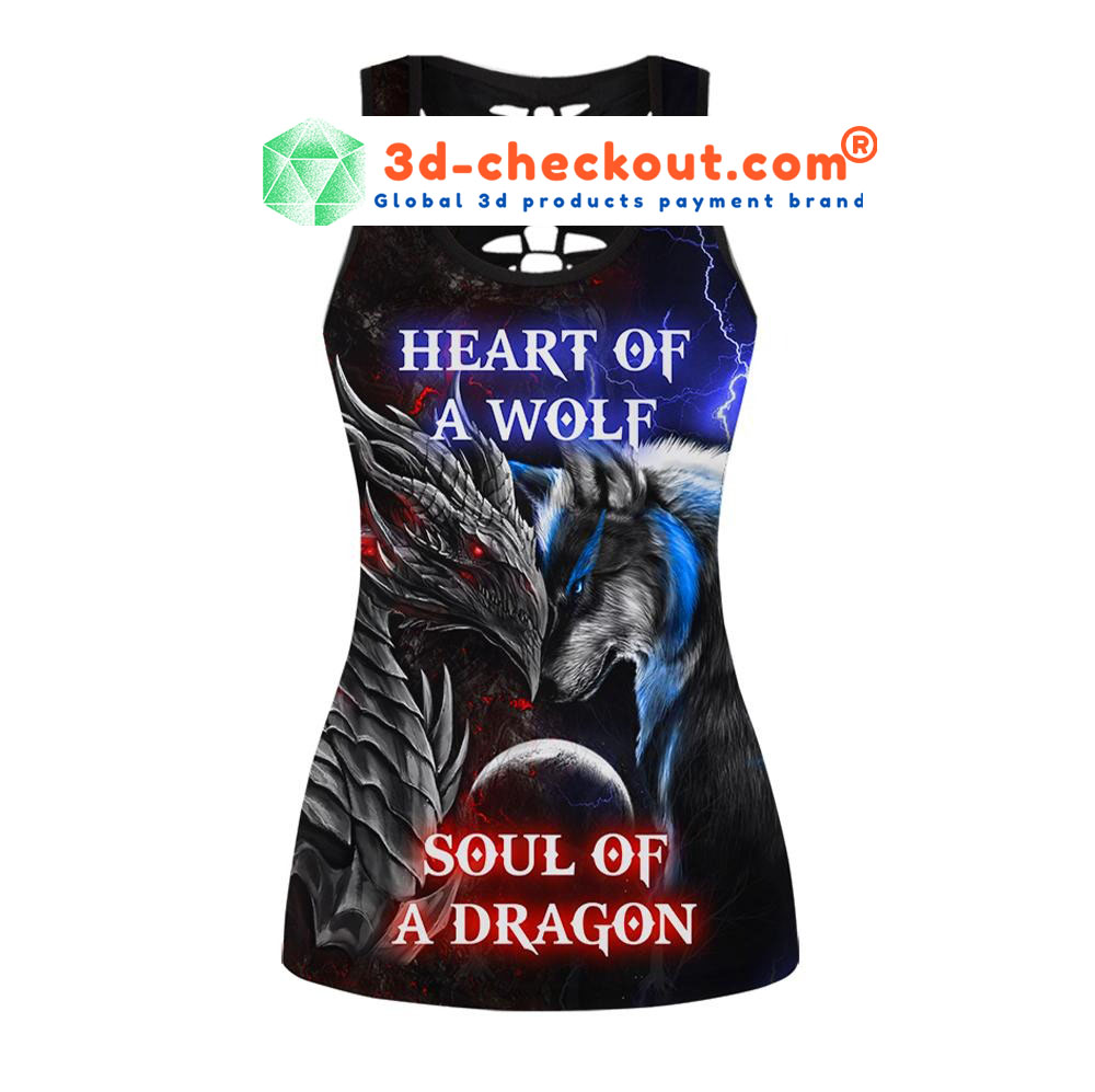 Heart of wolf soul of a dragon bedding set tank top