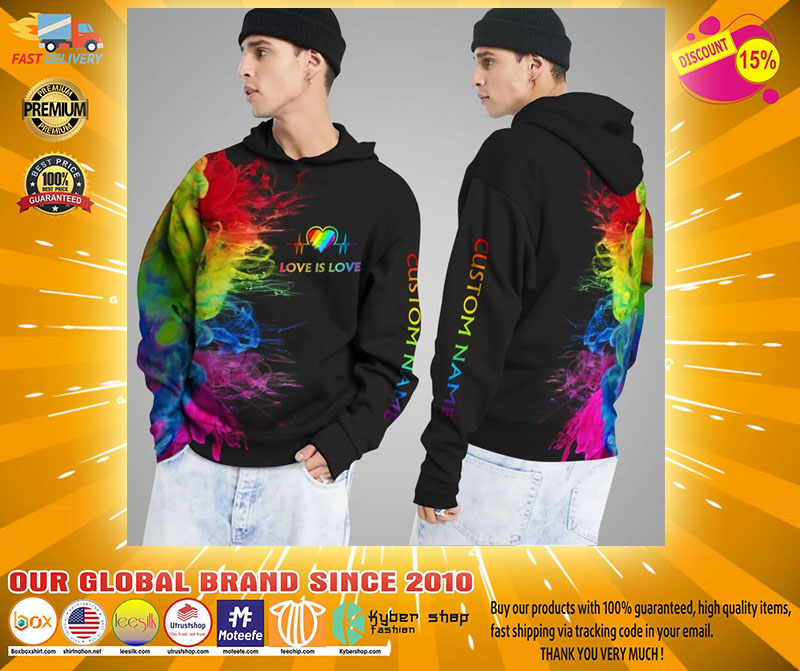 LGBT Love is love rainbow heartbeats custom name 3D hoodie2