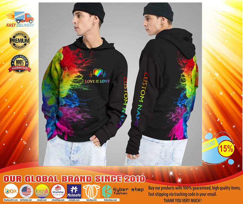LGBT Love is love rainbow heartbeats custom name 3D hoodie3
