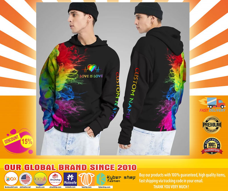 LGBT Love is love rainbow heartbeats custom name 3D hoodie4