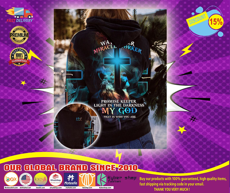 Lion way maker miracle worker my god 3D over print hoodie1