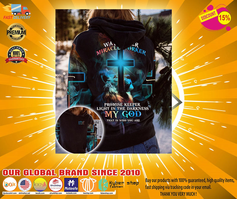 Lion way maker miracle worker my god 3D over print hoodie2