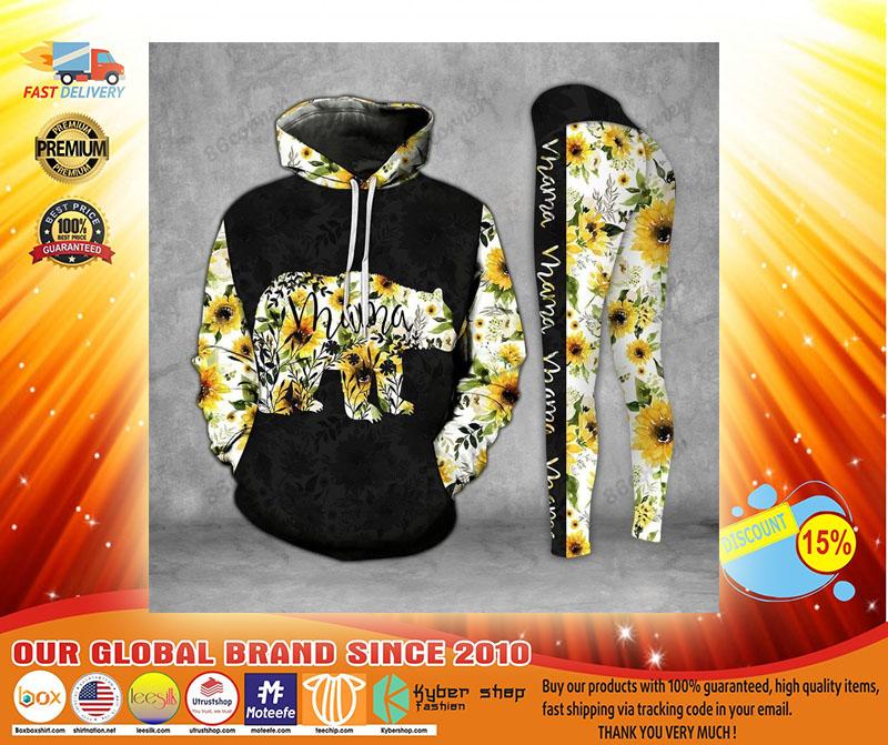 Mama bear Sunflower 3D hoodie and legging3