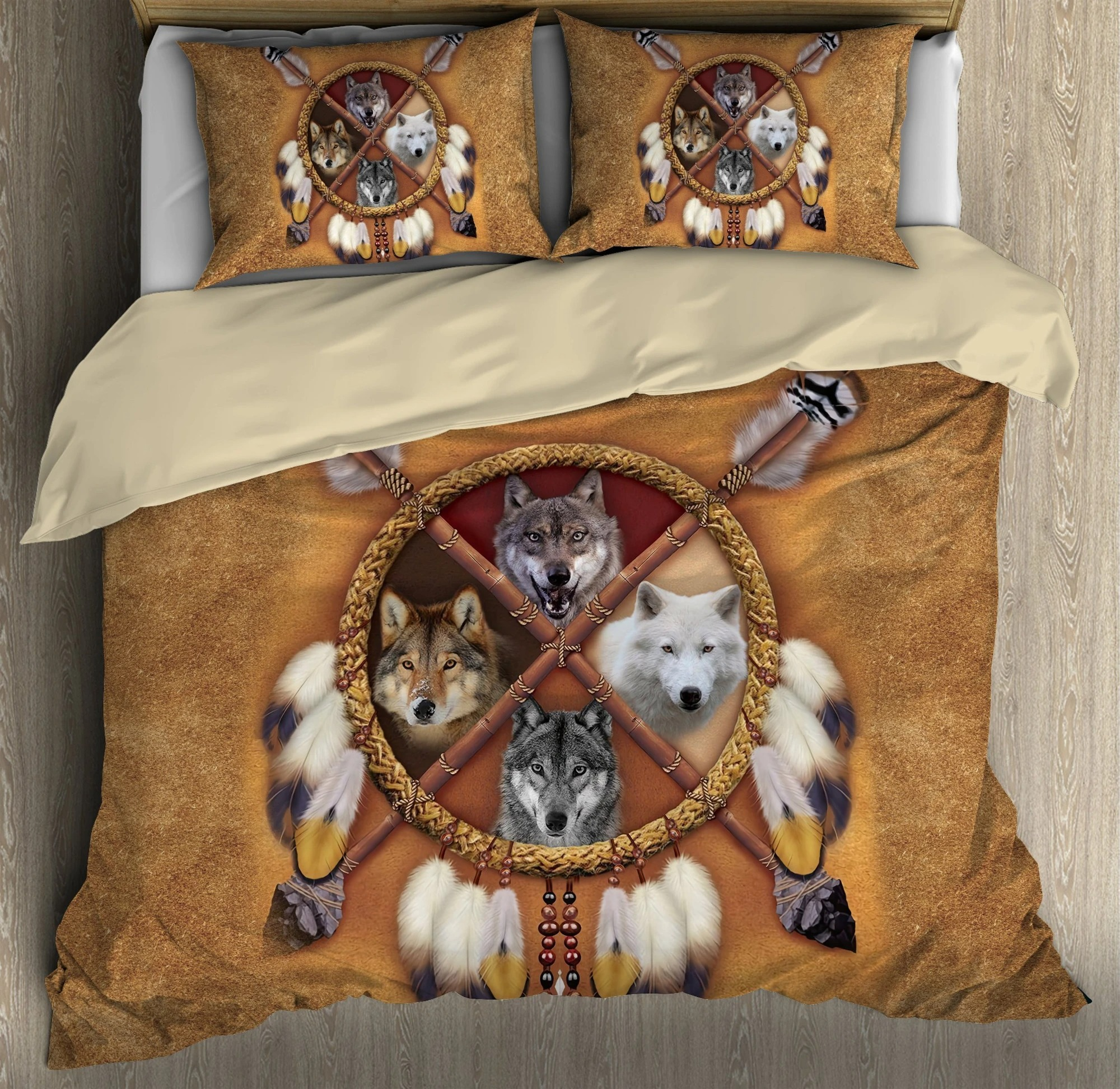 Native american wolf bedding set3