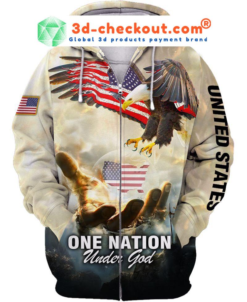 One nation eagle under god 3D over print hoodie2