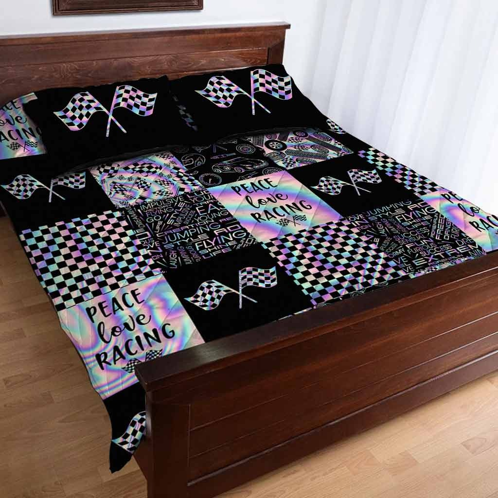 Peace love racing bedding set2