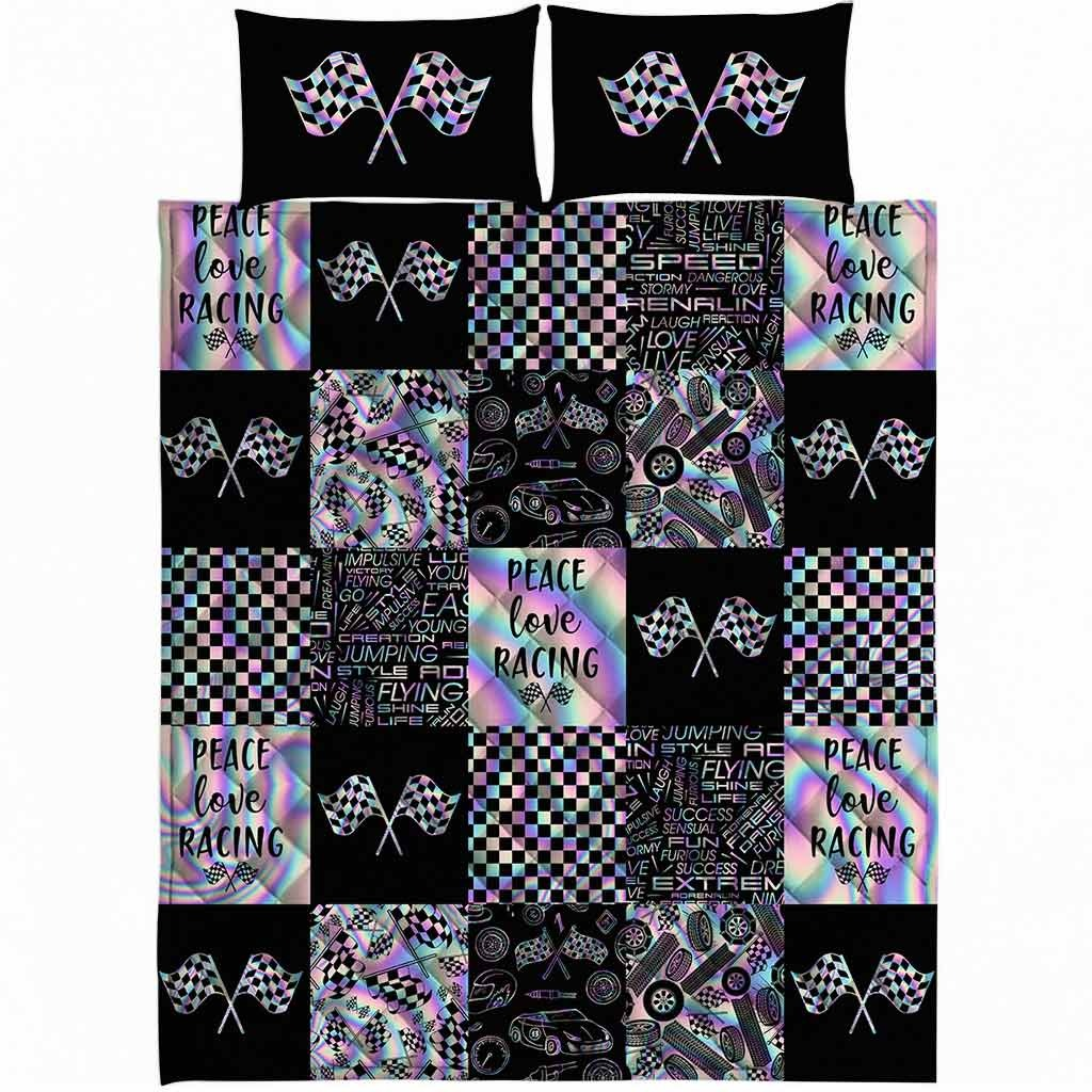 Peace love racing bedding set4