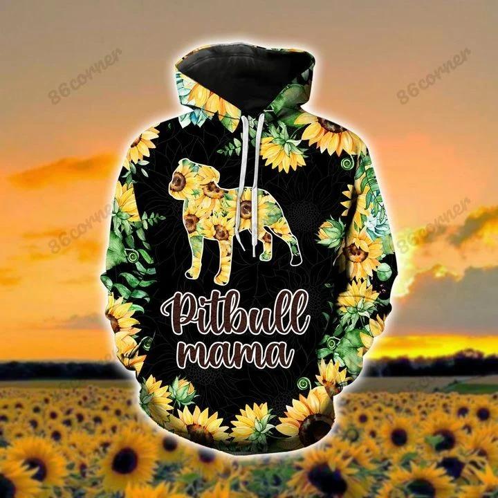 Pitbull mama Sunflower 3D hoodie and legging2 1