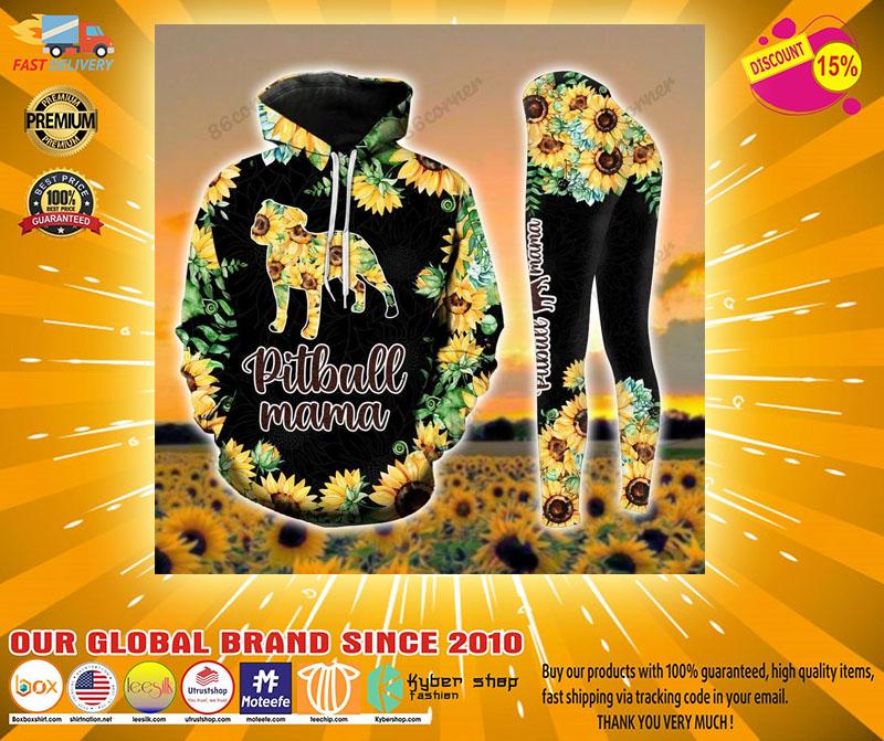 Pitbull mama Sunflower 3D hoodie and legging4 1