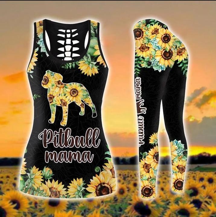 Pitbull mama sunflower 3d hoodie and legging1