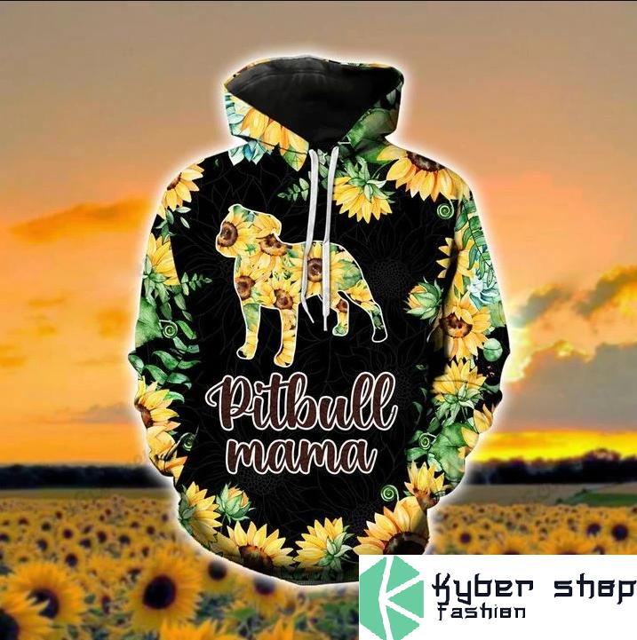 Pitbull mama sunflower 3d hoodie and legging2