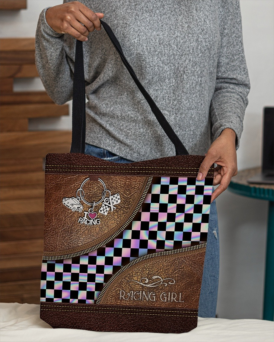 Racing girl leather tote bag2