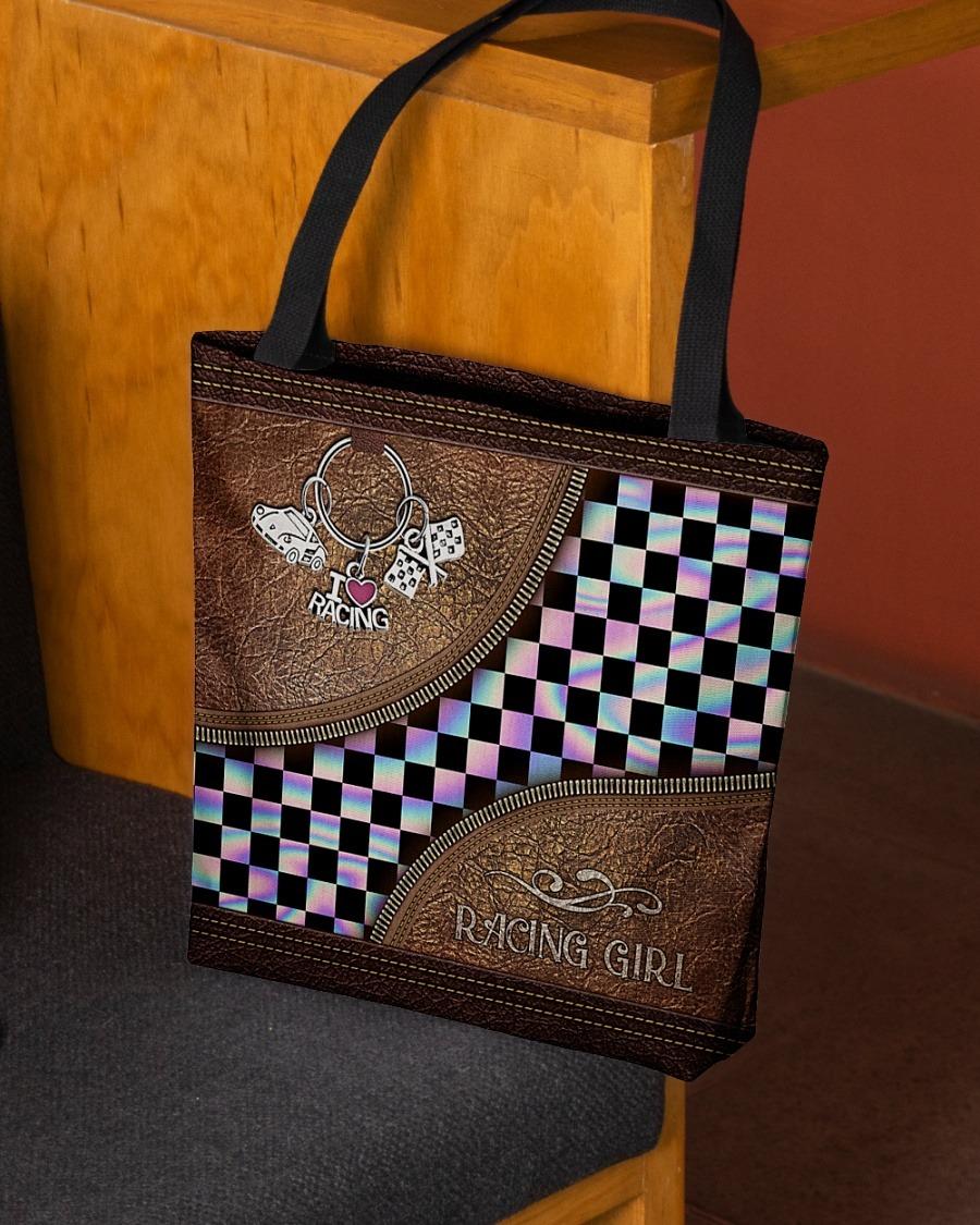 Racing girl leather tote bag3