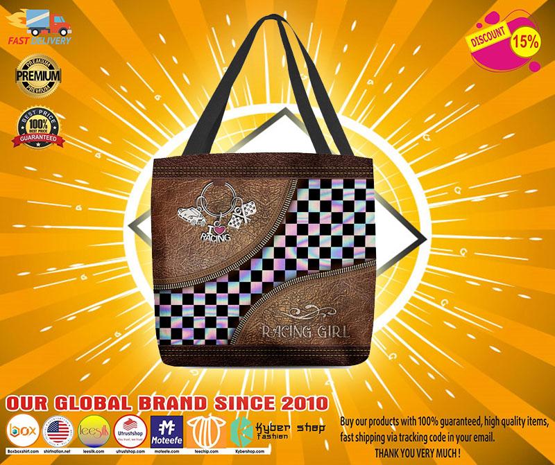 Racing girl leather tote bag4