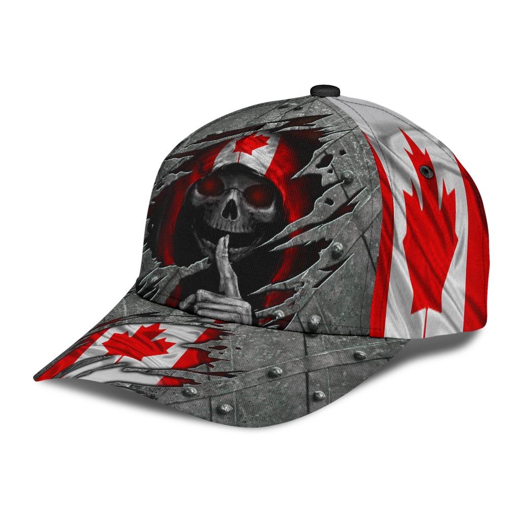 Skull Canada flag cap2