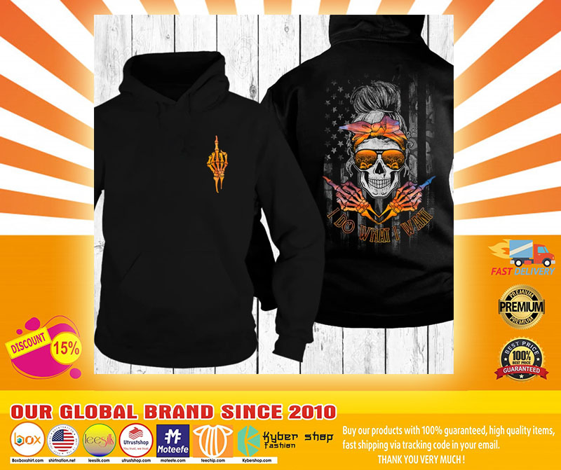 Skull I do what I want sunset beach 3D hoodie4
