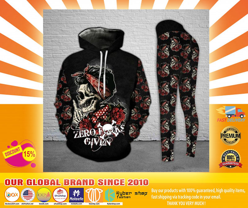 Skull and Rose zero fucks given 3D hoodie and legging4